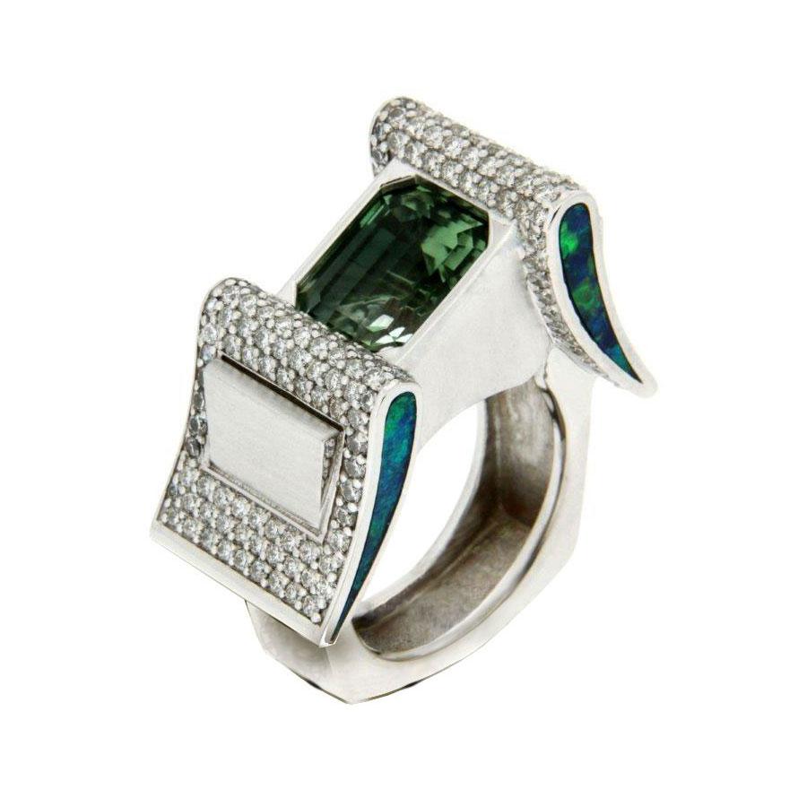 Buckle Rings White Gold Tourmaline Diamonds Opal Inlay