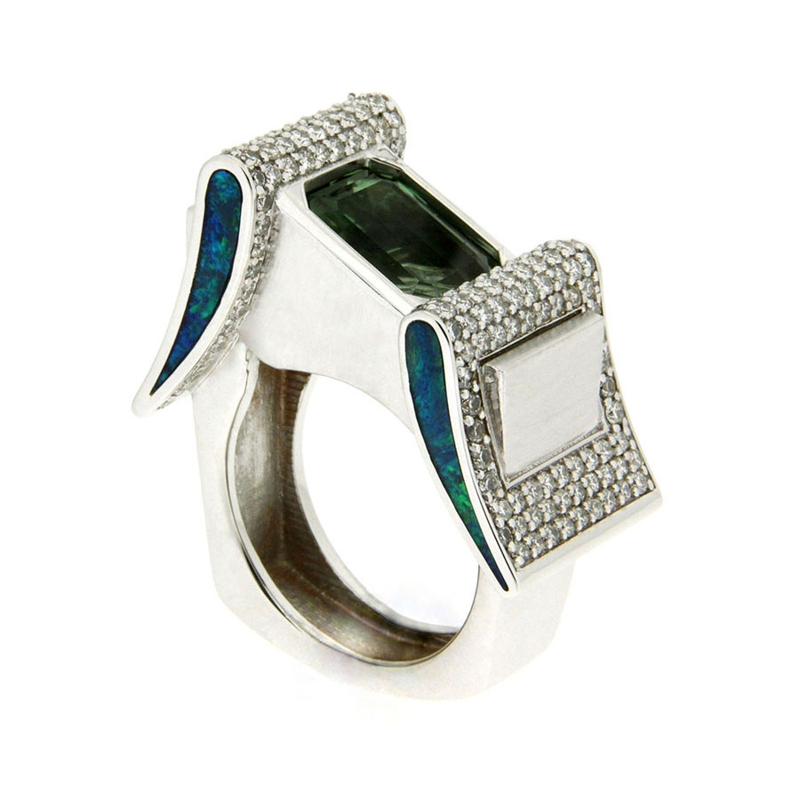 Buckle Rings White Gold Tourmaline Diamonds Opal Inlay