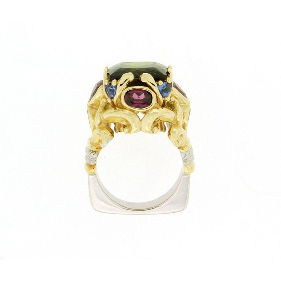 Corinth Rings Yellow Gold Tourmaline Garnet Tanzanite