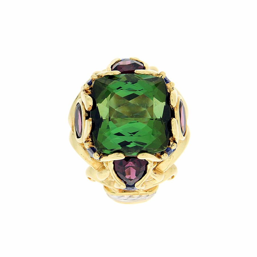 Corinth Rings Yellow Gold Tourmaline Garnet Tanzanite