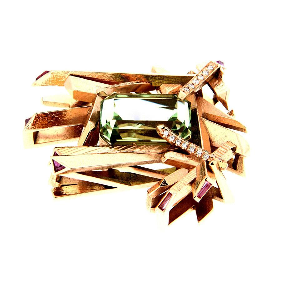 Crystal Gems Pendant Rose Gold Tourmaline Sapphires