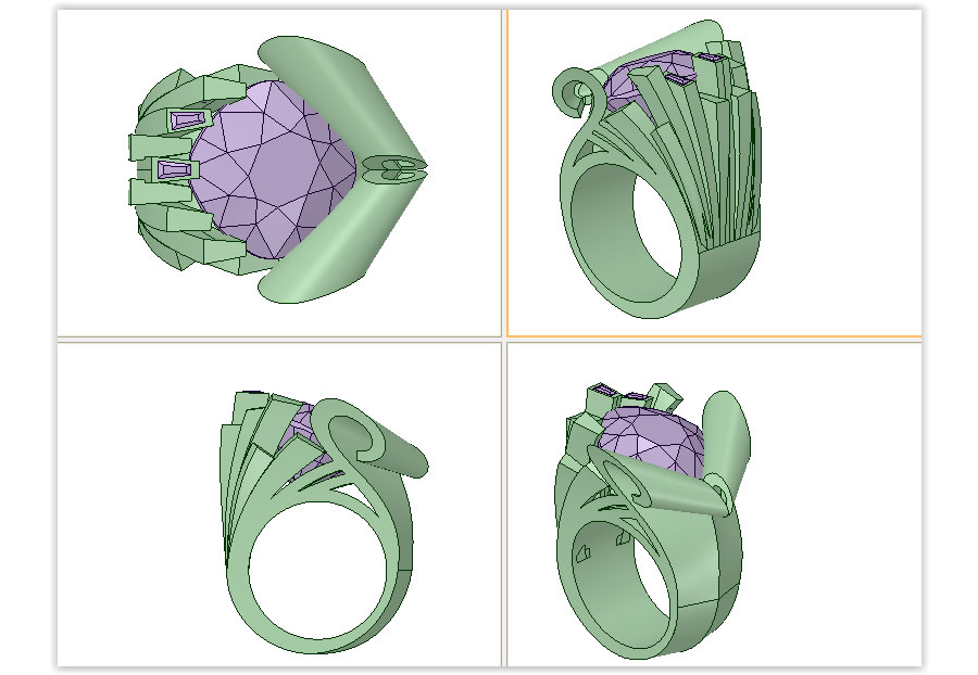 Private Commission Production Process Design CAD Rendering Ocean Wave Ring