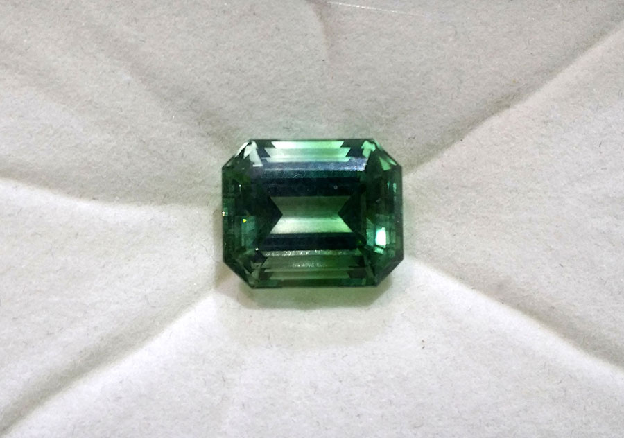 Private Commission Production Process Design Emerald Cut Bicolor Green Tourmaline Buckle Ring