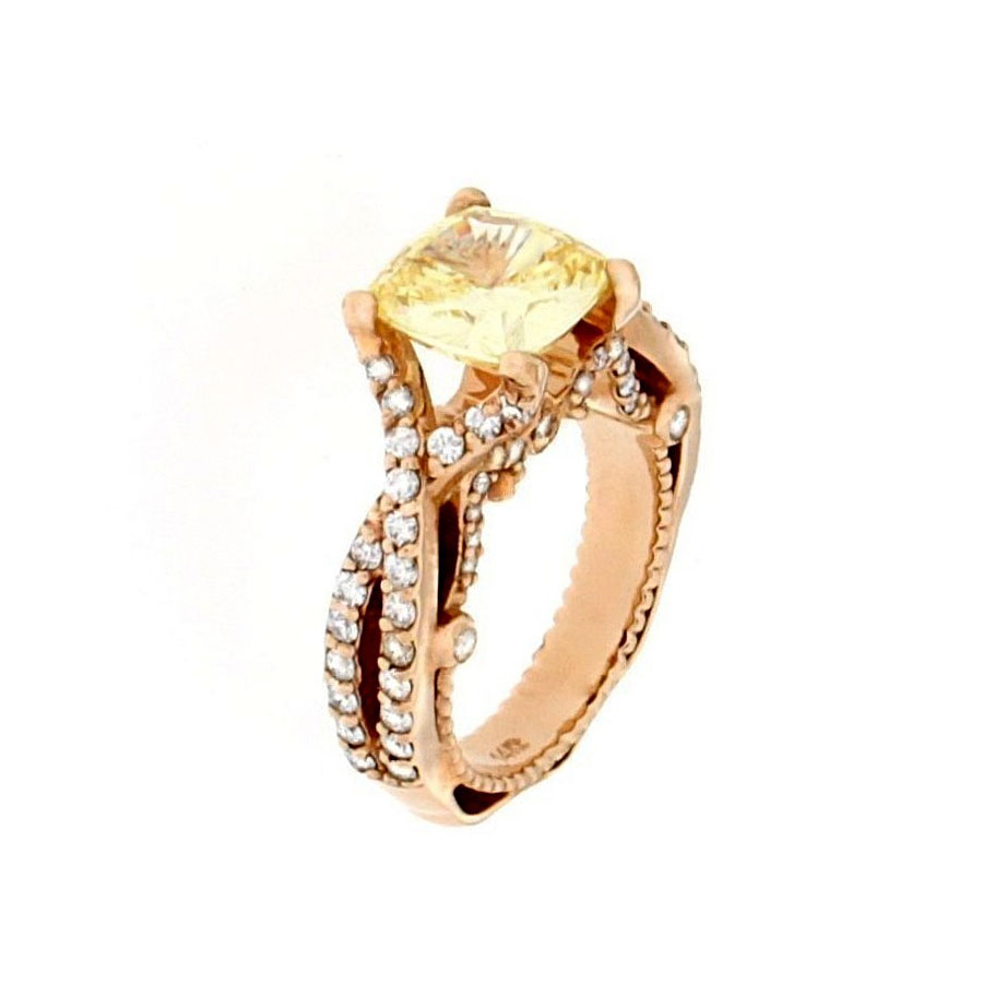 Engagement Ring Rose Gold Diamonds