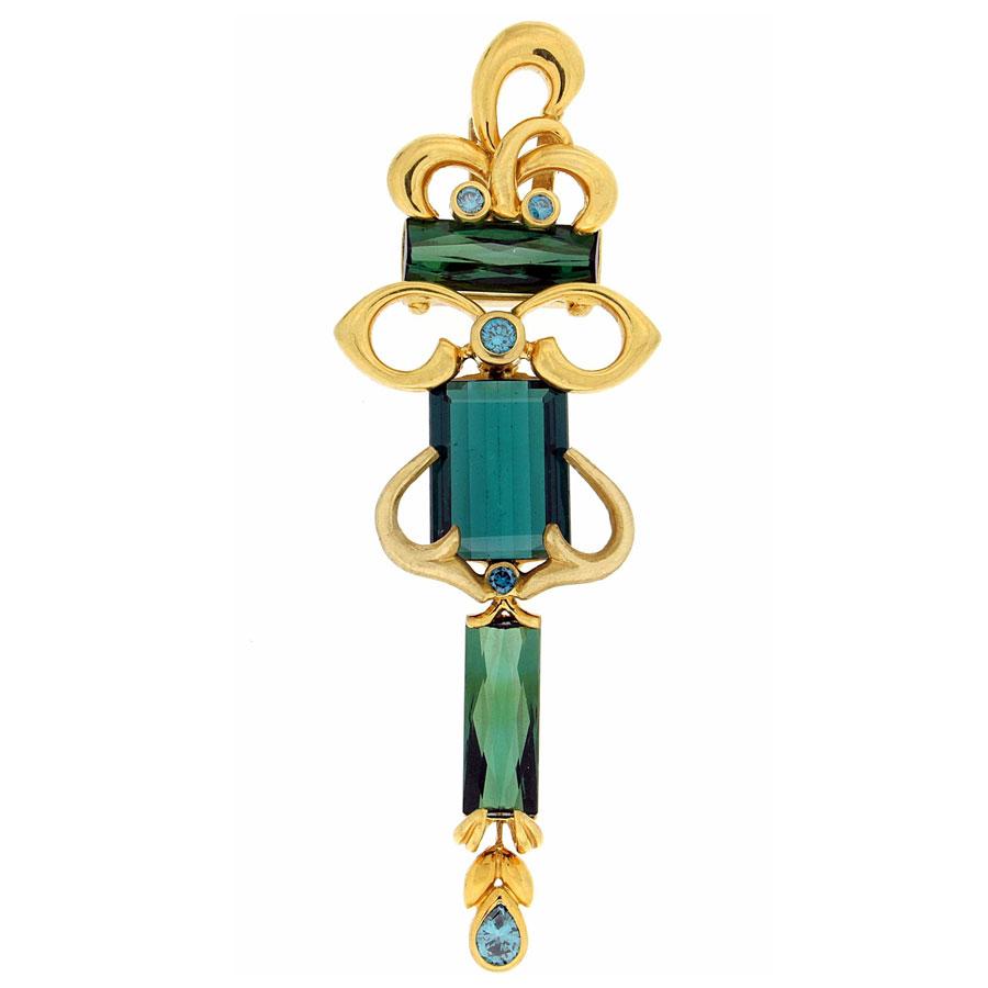Esmeralda Pendant Yellow Gold Tourmalines Blue Diamonds
