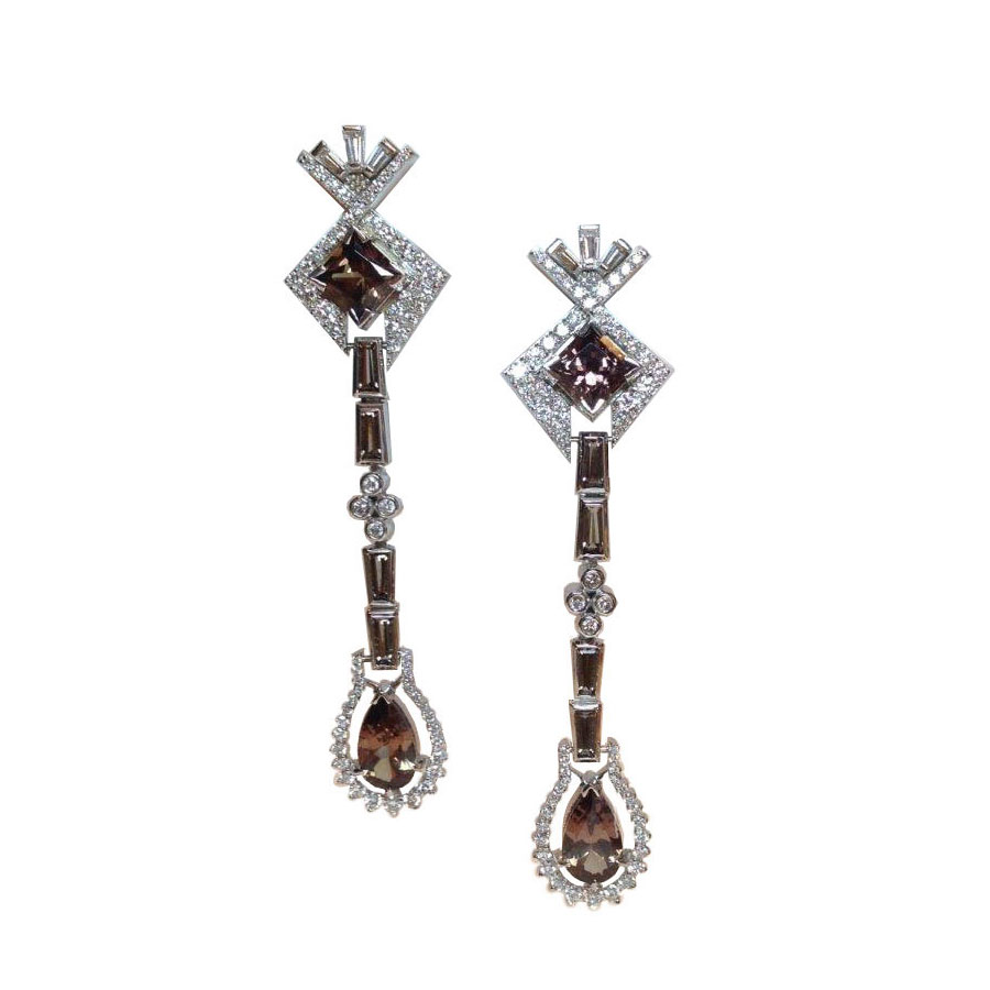 Garnet Earrings White Gold Garnet Topaz Diamonds