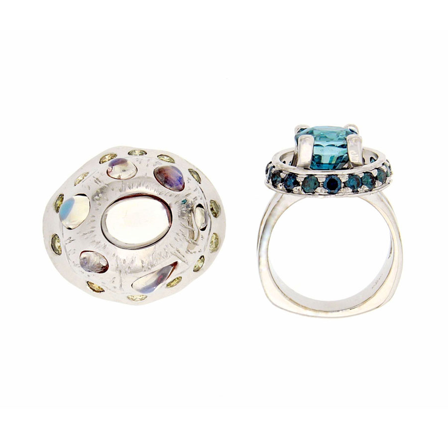 Ring White Gold Zircon Blue Diamond Yellow Diamond Moonstone