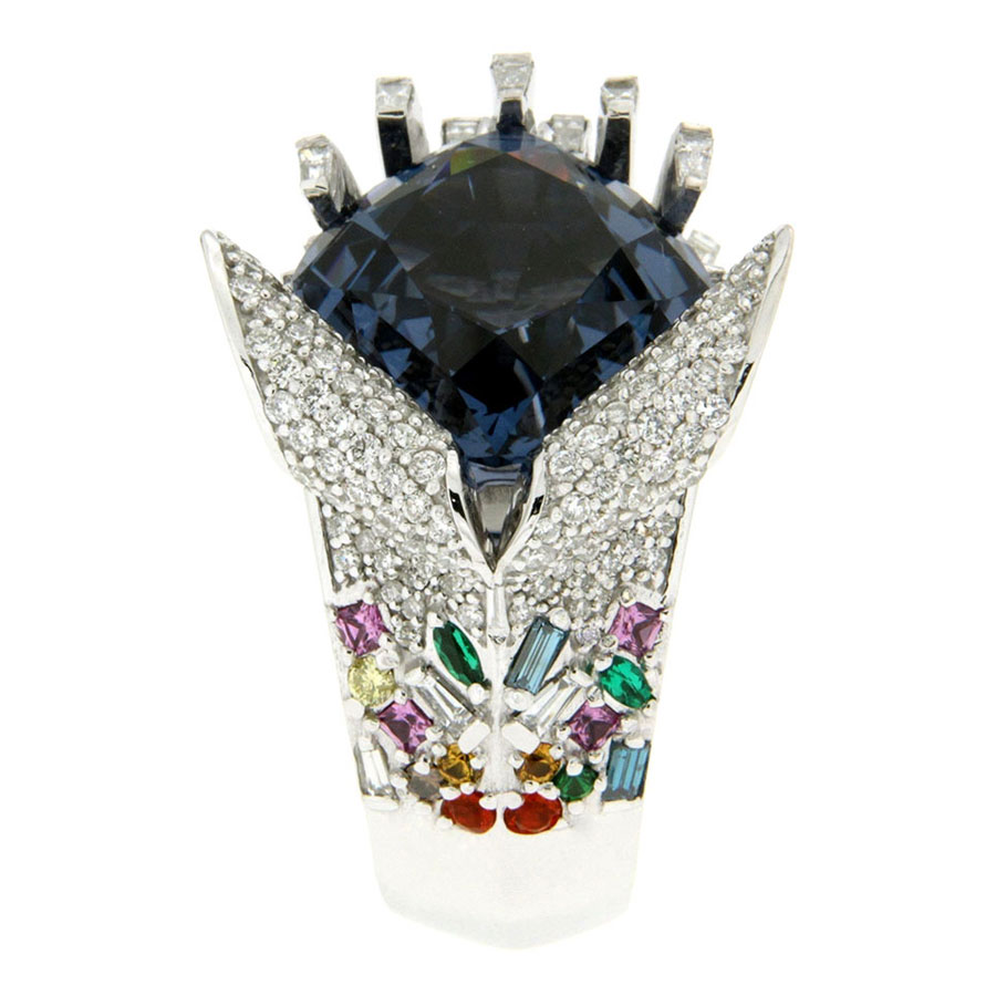 Ocean Wave Ring White Gold Spinel Diamond Emerald Sapphire