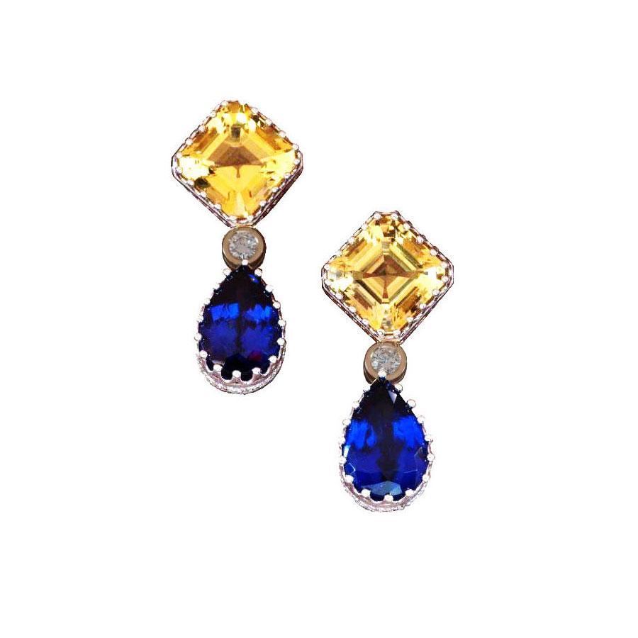 Earrings White Gold Beryl Tanzanite Diamond
