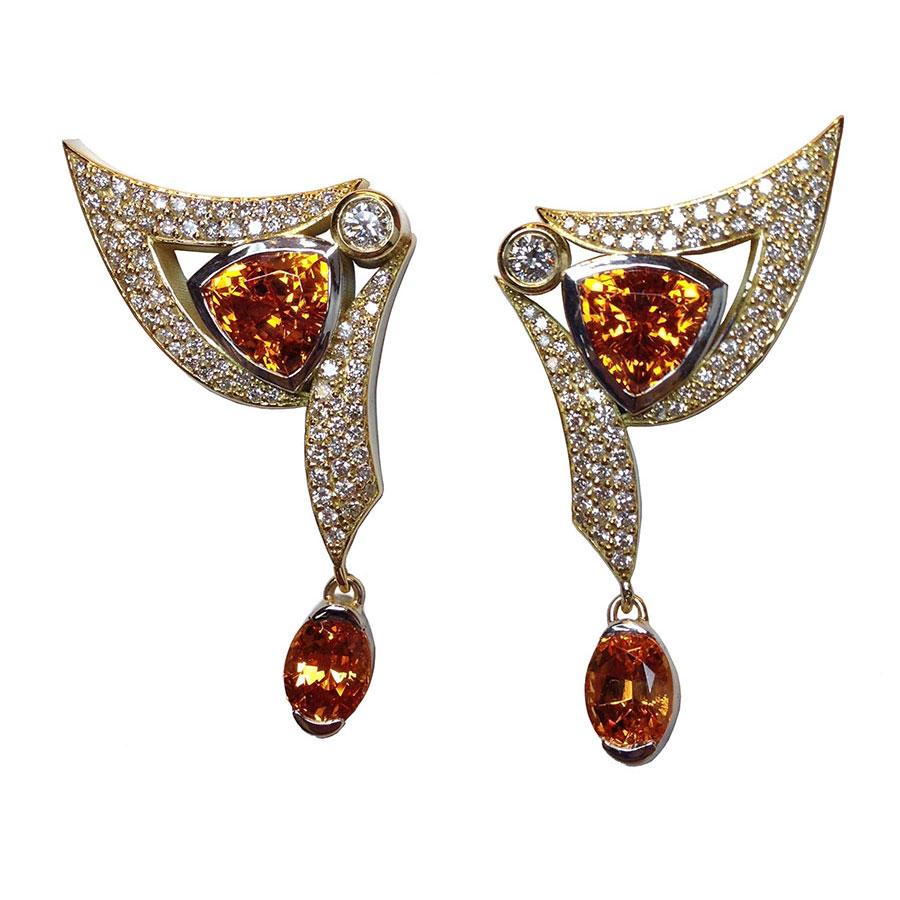 Spray Wing Earrings Gemstone White Gold Garnet Diamonds
