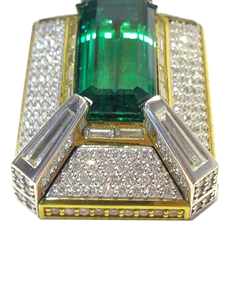 Pendant White Gold Tsavorite Garnet Diamonds