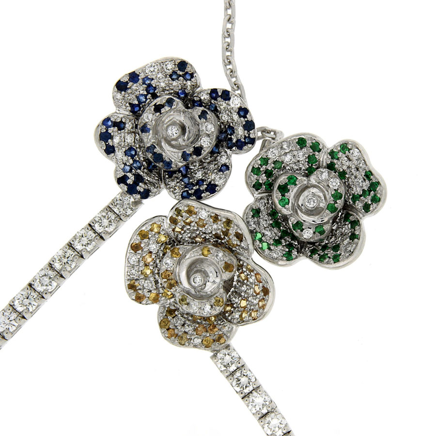 Earrings Necklace Diamonds Sapphires Tsavorites