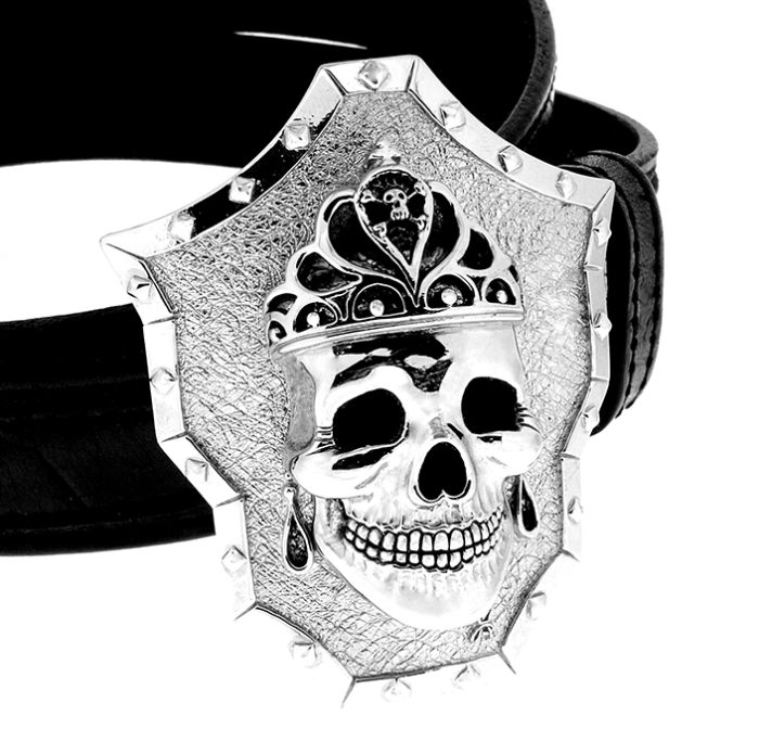 Golgotha Buckle Skull Queen Sterling Rose Gold Yellow Gold