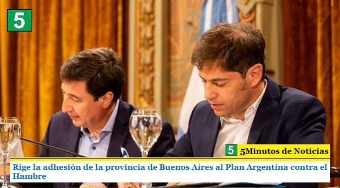 RIGE LA ADHESIÓN DE LA PROVINCIA DE BUENOS AIRES AL PLAN ARGENTINA CONTRA EL HAMBRE