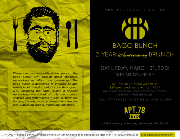 Bago Bunch Brunch Flyer Apt 78 Washington Heights