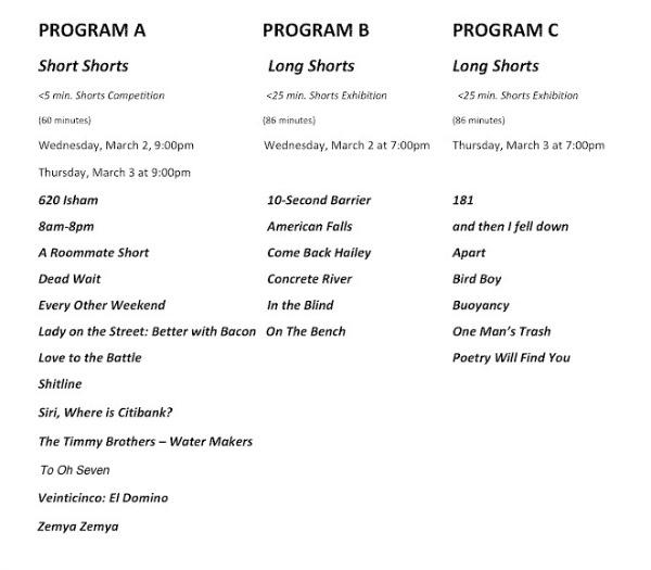 Inwood Film Festival - Schedule of Films