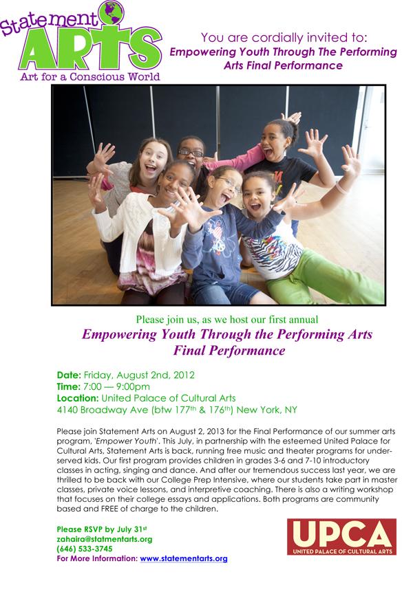 Statement Arts - Empowering Final Performance Invite 2013