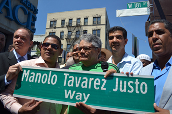 """West 181st and St. Nicholas Avenue was co-named the """"Manolo Tavarez Justo Way,"""" after the Dominican revolutionary who fought against the Trujillo regime."""