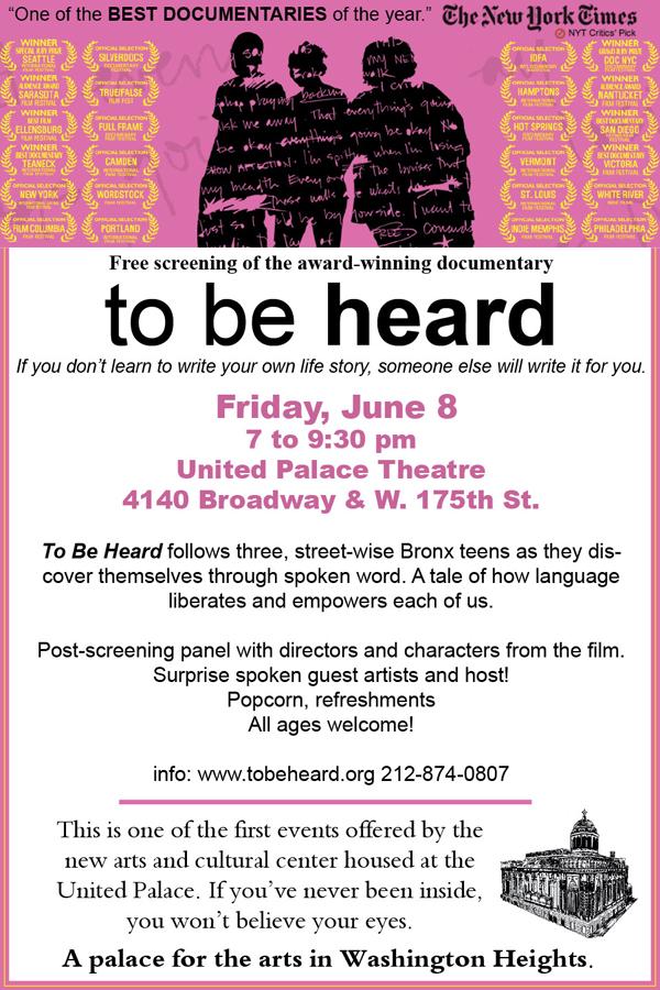 To Be Heard Film Washington Heights United Palace