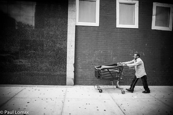 Man pushing cart - Washington Heights - Paul Lomax
