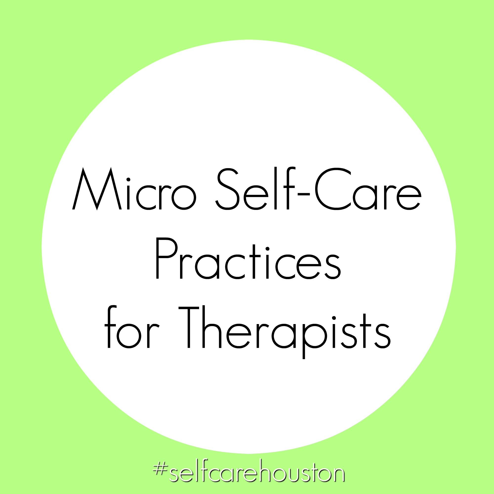 self-care for therapists