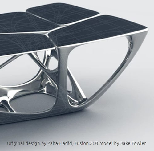 Original designed bench Zaha Hadid, Fusion 360 model by Jake Fowler