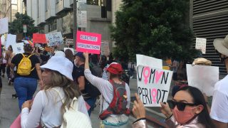 protesters march for women's rights