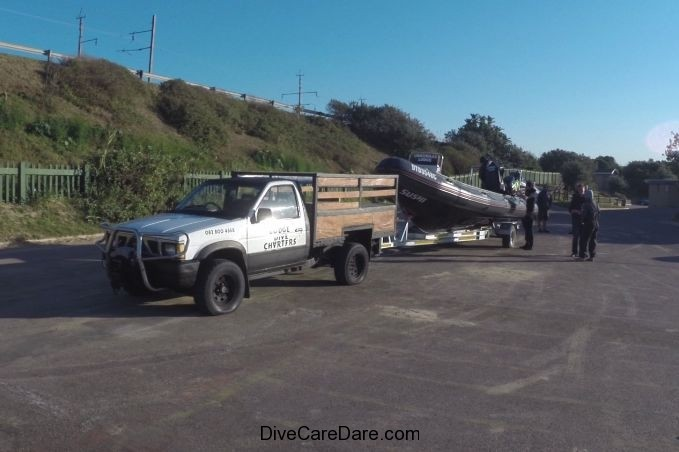 Aliwal Dive Centre-car and boat trailer in car park