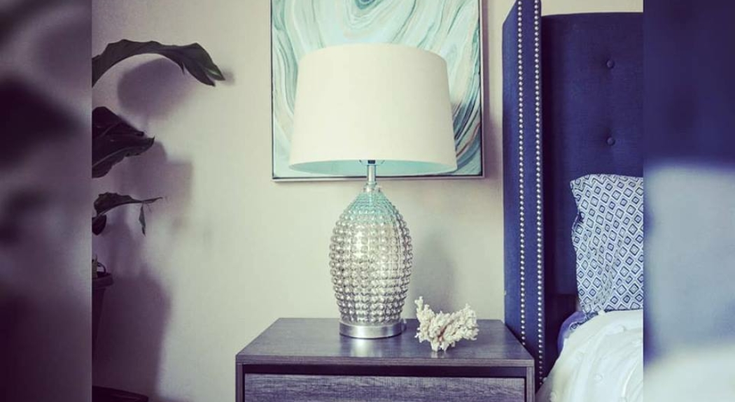 Bedroom Wall Art Side table and Lamp