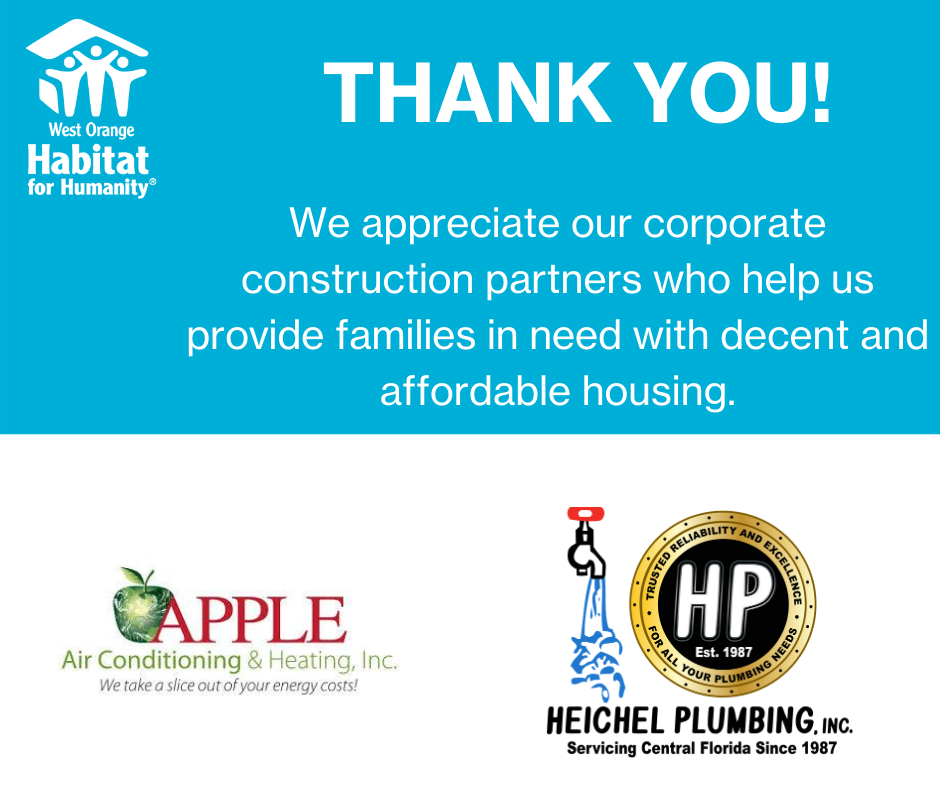 Our West Orange Community is truly one of a kind and Apple Air couldn't be prouder to support it along side amazing organizations such as Habitat for Humanity! 🍏 #TheAppleDifference