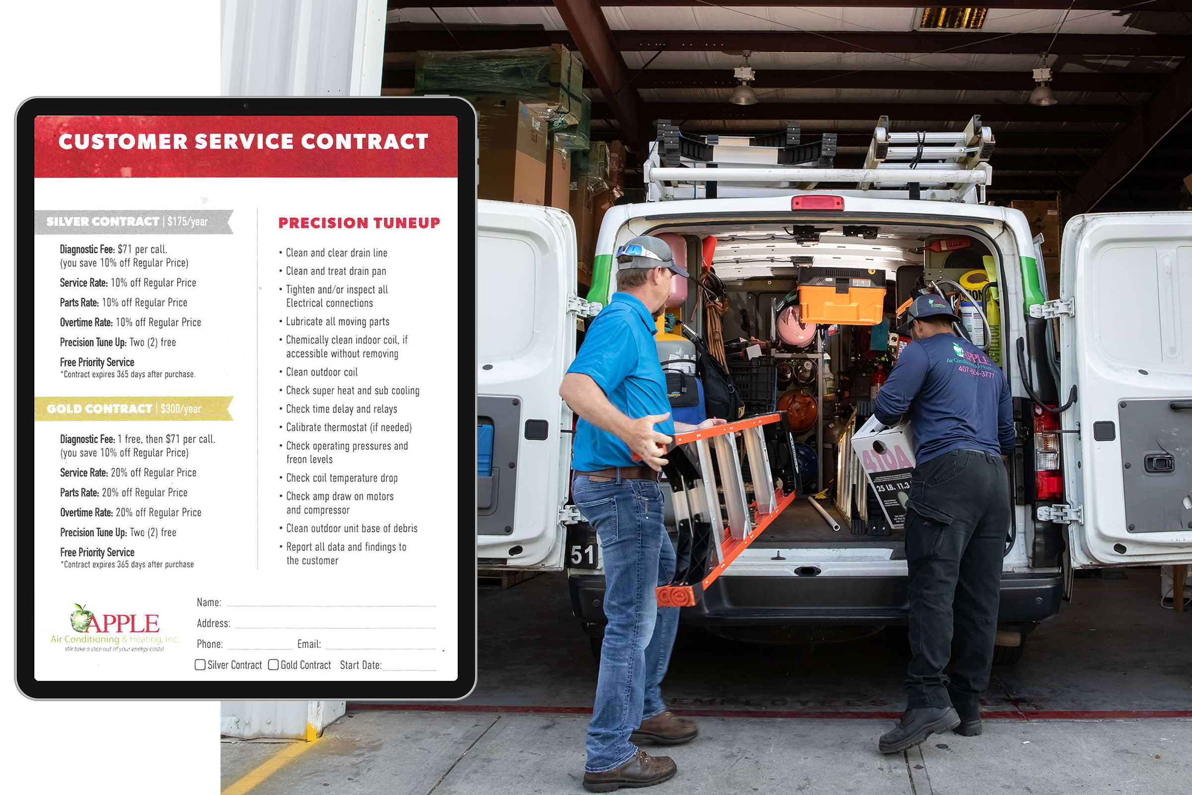 service contracts for apple ac and heating