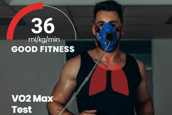 Man doing a VO2 Max Test on a treadmill in a black tank top