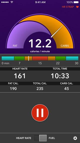 VO2 max mobile app carb vs. fat burn screenshot