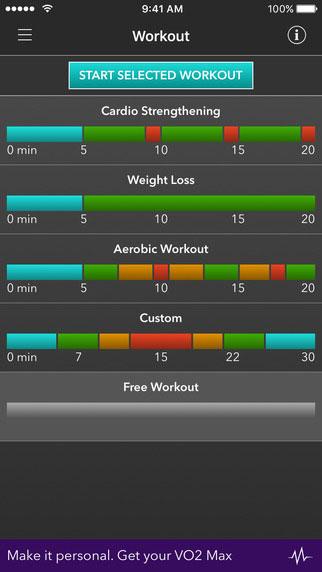 VO2 max mobile app workout screenshot