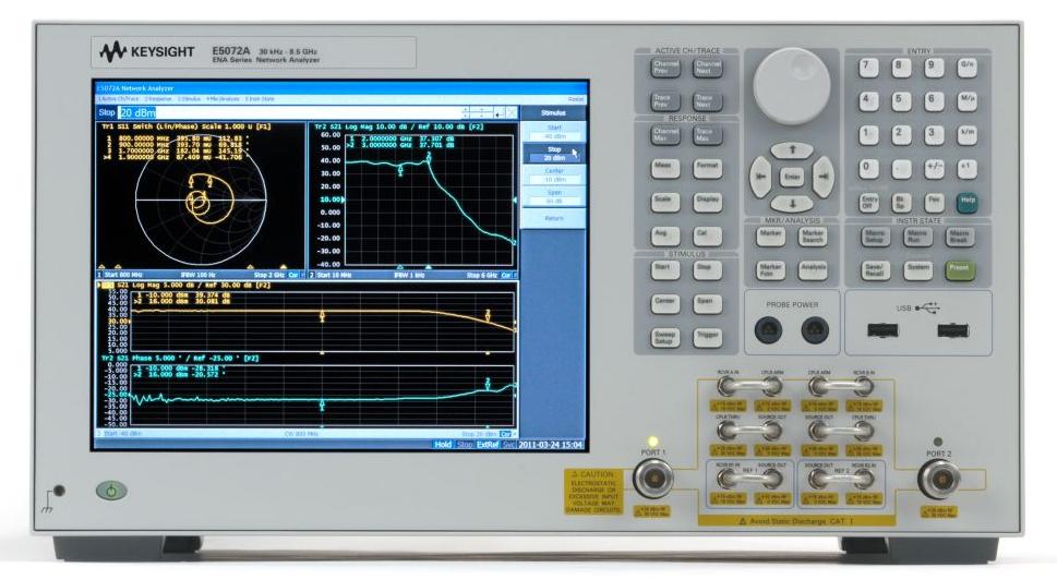 Keysight (Agilent) E5072A 2-Port Network Analyzer, 30 kHz - 4.5/8.5 GHz