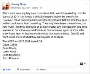 The Keep An Eye On Award - Jimmy Gunn Comedy Awards