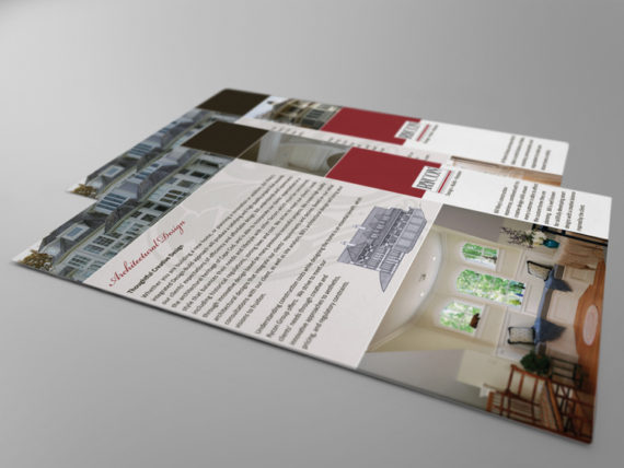 marketing flyer design for fine home builder and architect