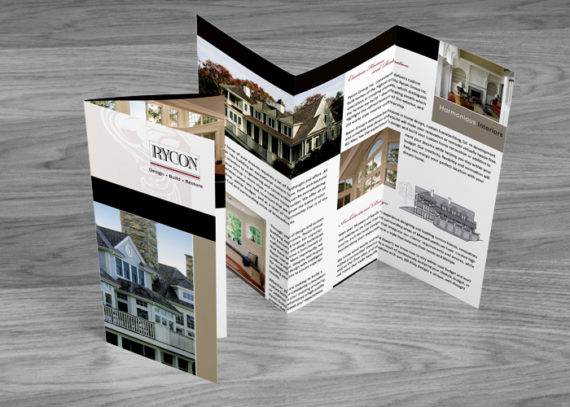 Trifold Brochure Design for fine home builder and architects - call 508-685-9042
