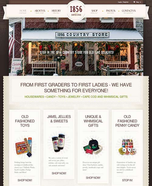 ecommerce website for general store and gift shop on Cape Cod