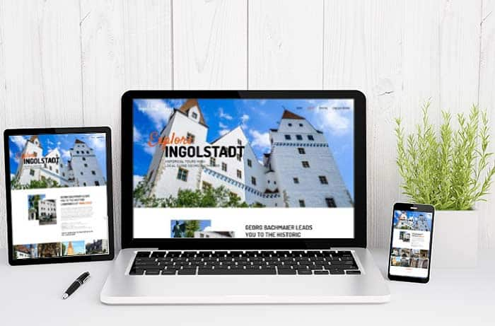 tour guide one page website shown on all devices