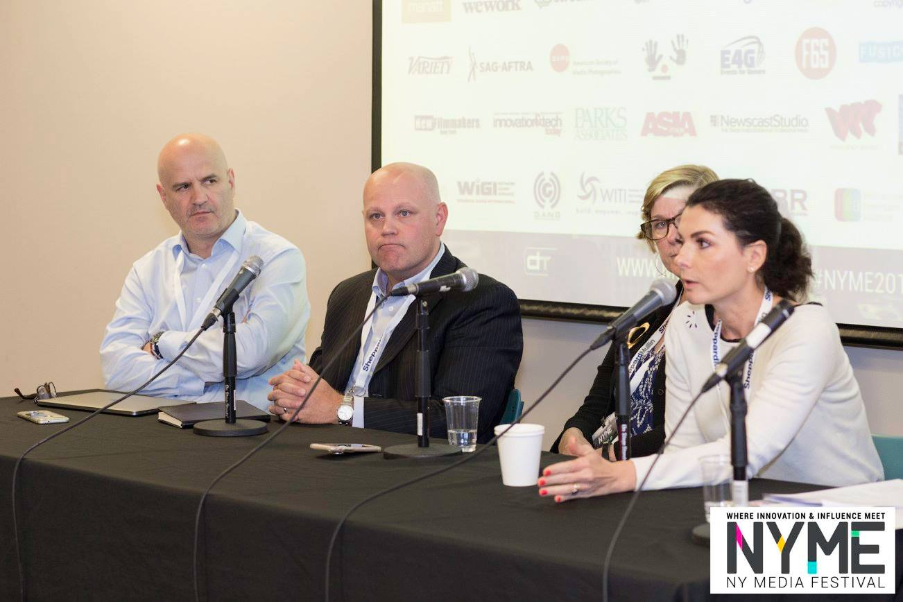 Left to right: IPR Licensing managing director Thomas Minkus; NPREX CEO Lee Greer; Kliemann & Co. president Kris Kliemann; Armonia Online CEO Virginie Berger