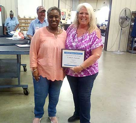 Carla Lacons receives 20 year Cablecraft milestone service award
