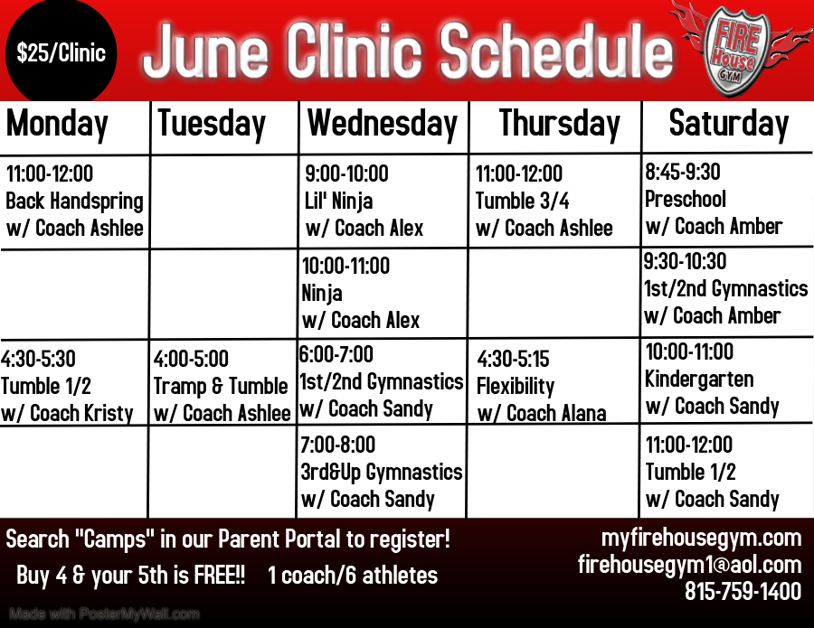 Register NOW for our June Clinics