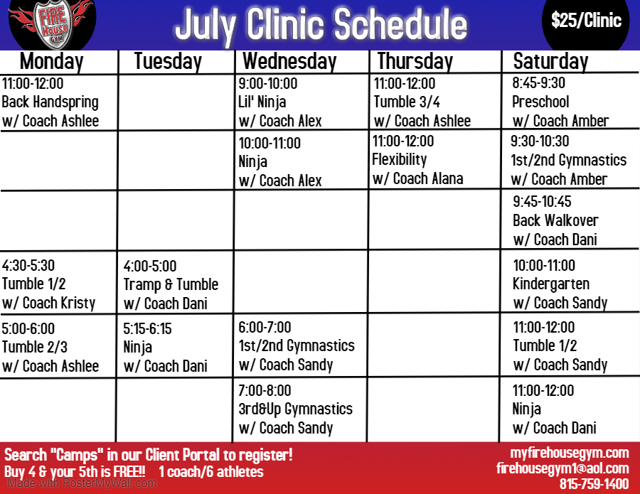 July Clinic Schedule