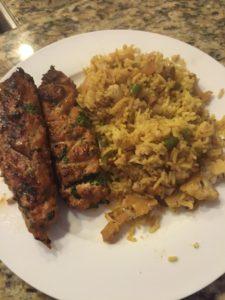 Vegetable Biryani & Grilled Chicken Kebabs