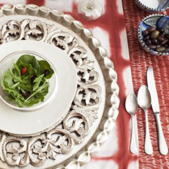 Amelia Paprika Red Patterned Cotton Table Linen