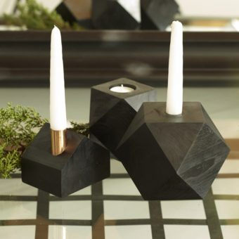 Roberto Black Wood Geometric Candleholder