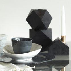 Tomas Black Wood Geometric Candleholder
