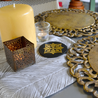 Kent Leather and Metal Handmade Coasters (set of four)
