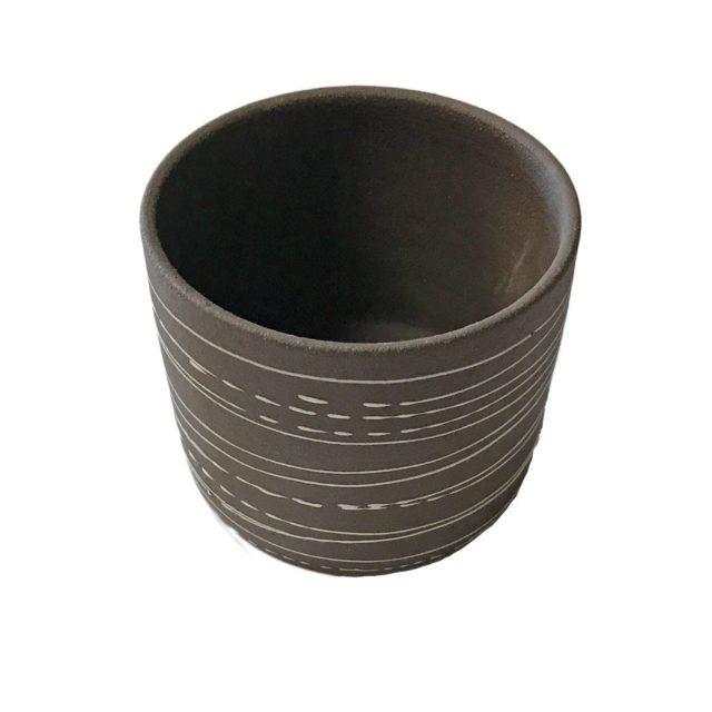 Rad Artisan Stoneware Brown Lines Design Planter